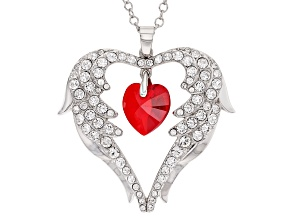 Red Crystal Silver Tone Heart Pendant W/ Chain