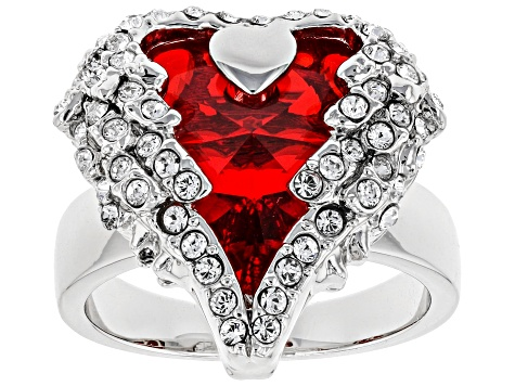Red Swarovski Elements ™ Silver Tone Heart Ring