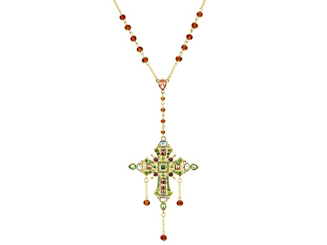 Multi-Color Crystal Gold Tone Cross Necklace