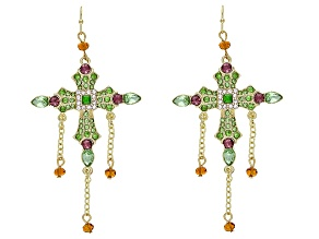 Multi-color Crystal Gold Tone Cross Earrings