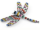 Multi-Color Crystal Gun Metal Tone Dragonfly Brooch