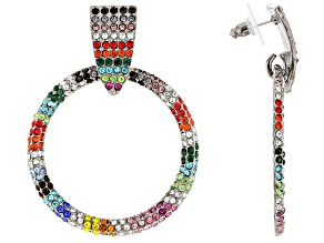 Multi-color Rainbow Crystal Gunmetal Tone Dangle Earrings