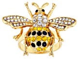 Multi-color Crystal Gold Tone Bee Ring