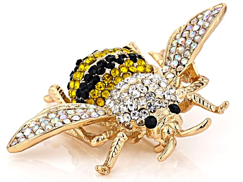 Multi-color Crystal Gold Tone Bee Brooch