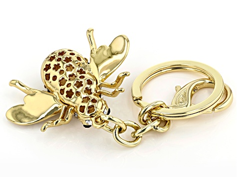 Multi-color Crystal Gold Tone Bee KeyChain