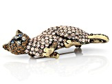 Multi-color Crystal Antiqued Gold Tone Siamese Cat Brooch
