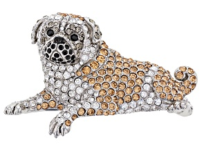 Multi-color Crystal Silver Tone Pug Dog Brooch