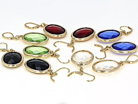 Multi-color Crystal Gold Tone Earring Set of 5