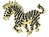 Black Crystal Shiny Gold Tone Zebra Brooch