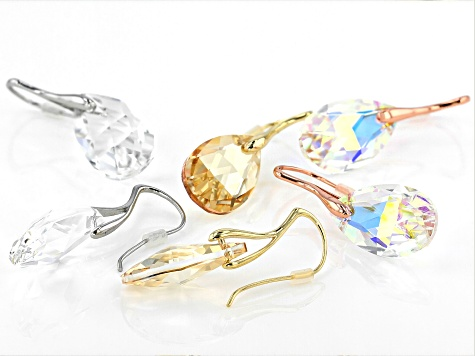 Multi-Color Crystal Tri- Color Set of 3 Drop Earrings