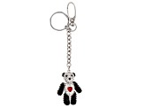 Multi-color Crystal Silver Tone Panda Bear With Heart Keychain