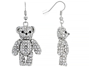 White And Black Crystals Silver Tone Bear Earrings