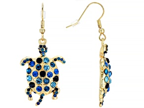 Multi-color Crystal Shiny Gold Tone Turtle Earrings