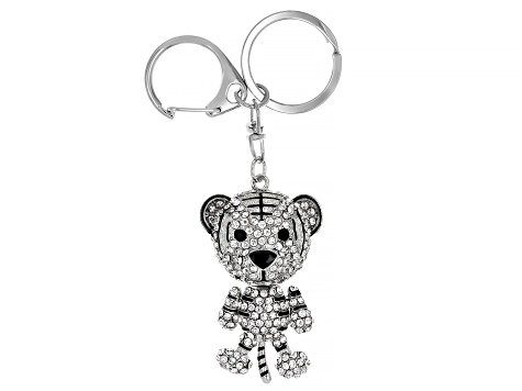 White And Black Crystals Silver Tone Tiger Keychain