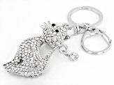 White And Black Crystals Silver Tone Cat Keychain