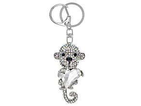 Multi Color Crystal Silver Tone Monkey Keychain