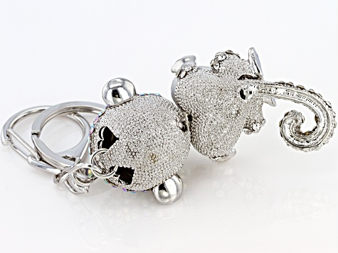 Multi Color Crystal Silver Tone Monkey Keychain