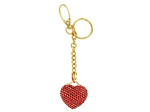 Red Crystal, Shiny Gold Tone Puffy Heart Keychain