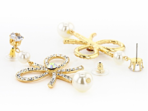 Gold Tone White Crystal and White Pearl Simulant Bow Earrings