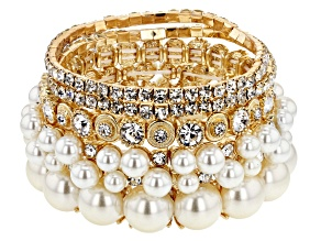 Gold Tone White Crystal and White Pearl Simulant Set of 5 Stretch Bracelets