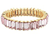 Gold Tone Multi-color Crystal Set of three stretch bracelet