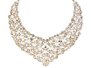 Gold Tone White Crystal And White Pearl Simulant Statement Necklace