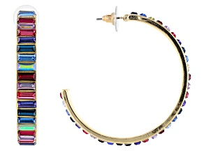 Gold Tone Multi-Color Crystal Hoop Earrings