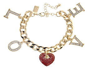 "Gold Tone White & Red Crystal ""Love"" Charm Bracelet"
