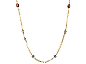 Gold Tone Multi-color Crystal Endless Necklace