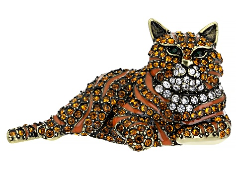 Multi-Color Crystal Antique Bronze Tone Cat Brooch