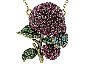 Antique Bronze Tone Multi-Color Crystal hydrangea Pin & Pendant
