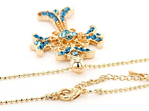 Shiny Gold Tone Multi-Color Crystal Cross Pendant W/Chain