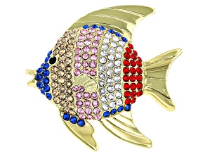 Swarovski Elements™ Shiny Gold Tone Fish Brooch