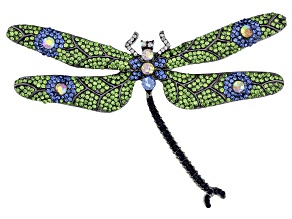 Multi-Color Crystal Gunmetal Tone Dragonfly Brooch