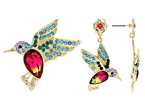 Gold Tone Bi- Color  Crystal Hummingbird Brooch And Earring Set