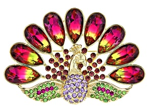 Gold Tone Multi-Color Crystal Peacock Brooch