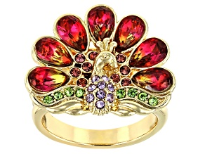 Gold Tone Multi-Color Crystal Peacock Ring