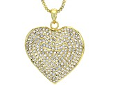 Off Park ® Collection Gold Tone Heart Shape White Crystal Long Necklace