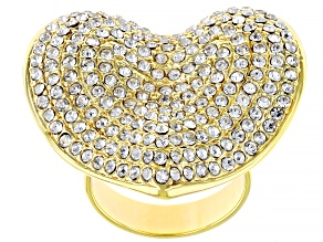 Off Park ® Collection, Gold Tone Heart Shape White Crystal Ring