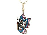 Off Park ® Collection,Multi Color Crystal Antique Brass Butterfly Enhancer with Chain