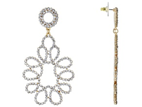 Off Park ® Collection, Gold Tone White Crystal Statement Earrings