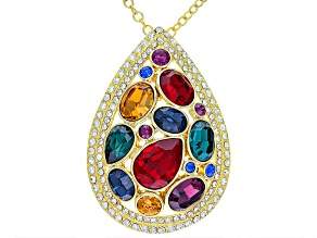 Multi-color Swarovski Elements ™ Shiny Gold Tone Drop Pendant/Pin