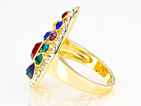Swarovski Elements ™ Shiny Gold Tone Teardrop Ring