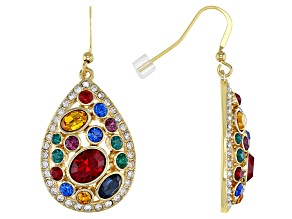 Swarovski Elements ™ Shiny Gold Tone Teardrop Earrings