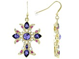 Shiny Gold Tone, Swarovski Elements ™ Crystal Cross Earrings