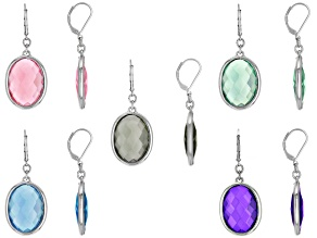 Multi-color Crystal Silver Tone Earring Set of 5