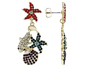 Multi-Color Crystal Gold Tone Underwater Sea Life Earrings
