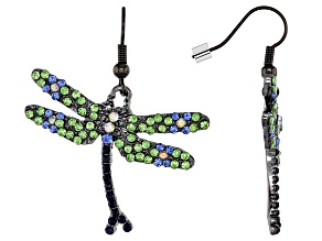 Off Park ® Collection Green Crystal Gunmetal Dragonfly Earrings