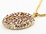 Gold Tone Multi-Color Crystals Pendant With Chain
