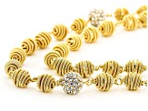Gold Tone Clear Crystal Station Convertible Necklace